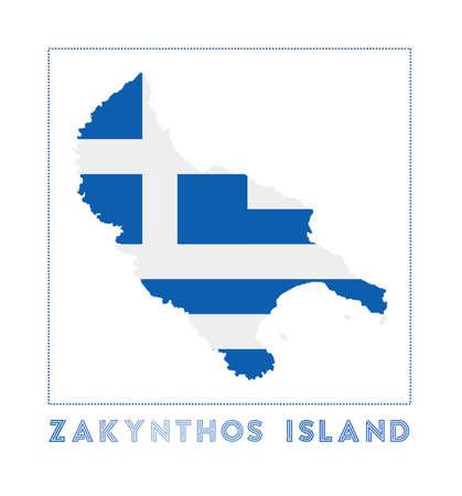Zakynthos Island Logo. Map of Zakynthos Island with island name and flag. Beautiful vector illustration.