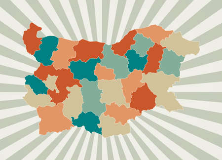 Bulgaria map. Poster with map of the country in retro color palette. Shape of Bulgaria with sunburst rays background. Vector illustration.