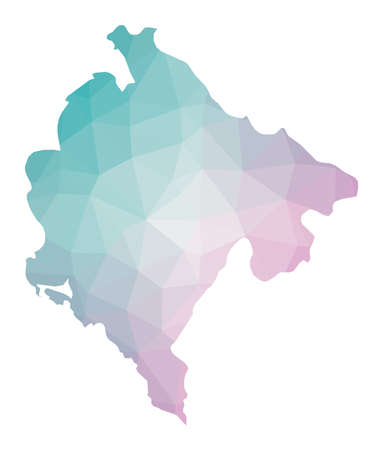 Polygonal map of Montenegro. Geometric illustration of the country in emerald amethyst colors. Montenegro map in low poly style. Technology, internet, network concept. Vector illustration. Çizim