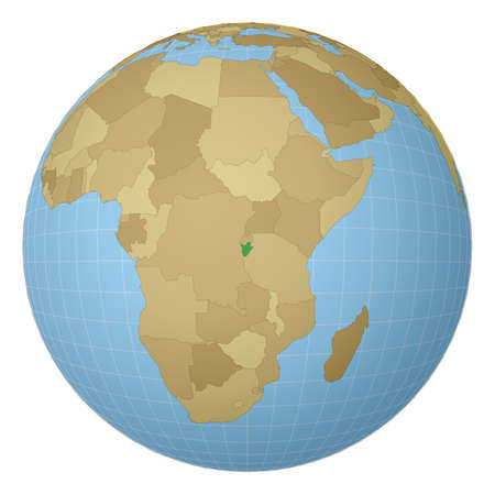 Globe centered to Burundi. Country highlighted with green color on world map. Satellite projection view. Vector illustration.