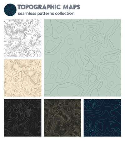 Topographic maps. Appealing isoline patterns, seamless design. Trendy tileable background. Vector illustration.