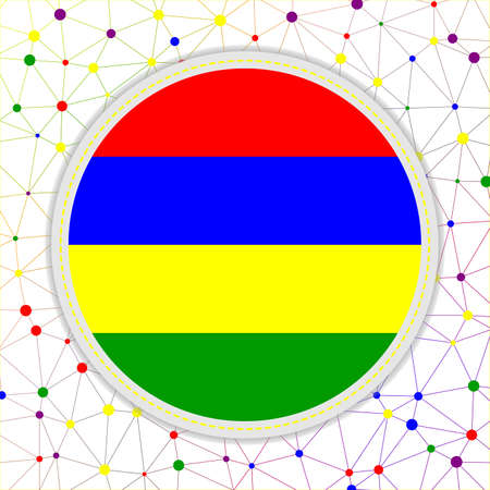 Flag of Mauritius with network background. Mauritius sign. Superb vector illustration.