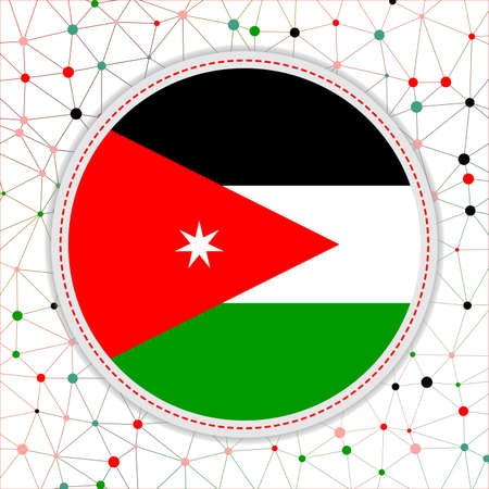 Flag of Jordan with network background. Jordan sign. Appealing vector illustration.