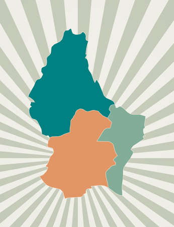 Luxembourg map. Poster with map of the country in retro color palette. Shape of Luxembourg with sunburst rays background. Vector illustration. Ilustração