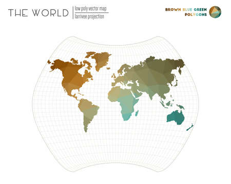 Low poly world map. Larrivee projection of the world. Brown Blue Green colored polygons. Contemporary vector illustration.