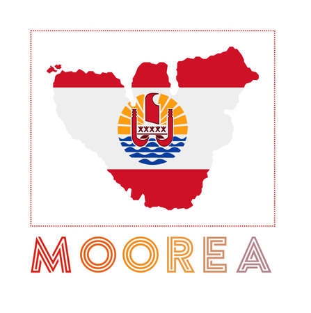 Map of Moorea with island name and flag. Awesome vector illustration.