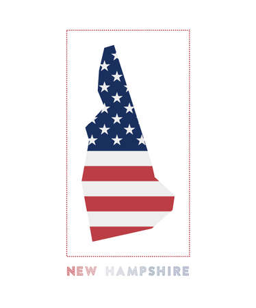 Map of New Hampshire with us state name and flag. Amazing vector illustration.