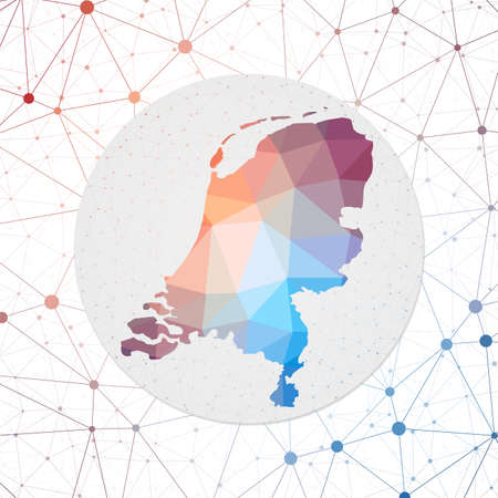 Abstract vector map of Netherlands. Technology in the country geometric style poster. Polygonal Netherlands map on 3d triangular mesh