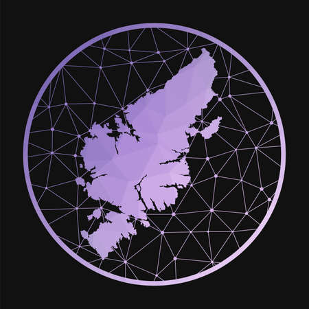 Lewis and Harris icon. Vector polygonal map of the island. Lewis and Harris icon in geometric style. The island map with purple low poly gradient on dark background.