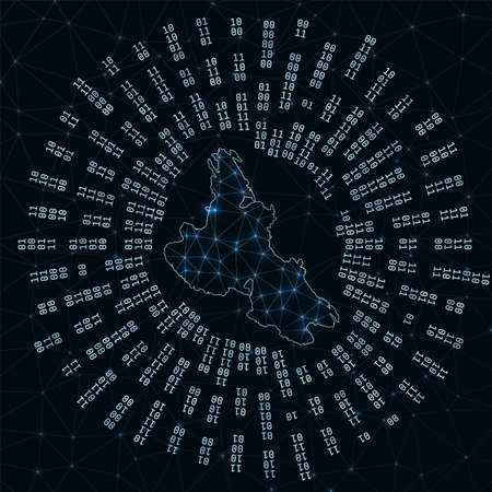 Krk digital map. Binary rays radiating around glowing island. Internet connections and data exchange design. Vector illutration.