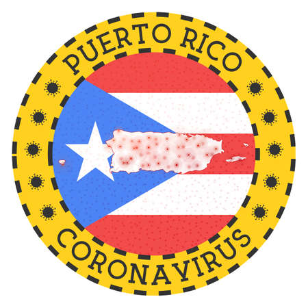 Coronavirus in Puerto Rico sign. Round badge with shape of Puerto Rico. Yellow country lock down emblem with title and virus signs. Vector illustration. Illustration