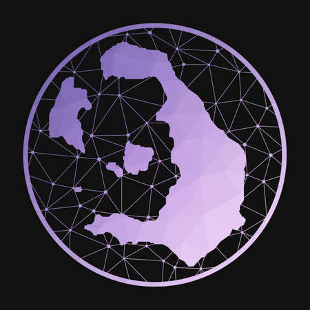 Santorini icon. Vector polygonal map of the island. Santorini icon in geometric style. The island map with purple low poly gradient on dark background.
