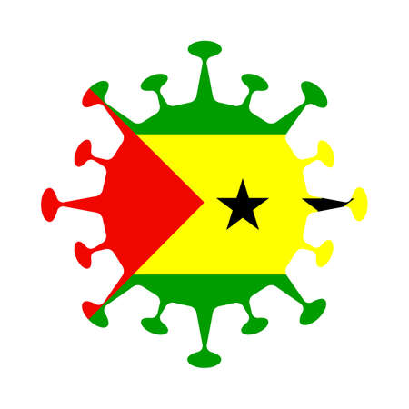 Flag of Sao Tome and Principe in virus shape. Country sign. Vector illustration.
