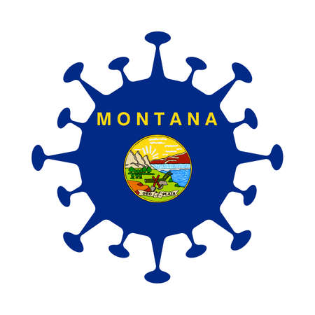 Flag of Montana in virus shape. Us state sign. Vector illustration.