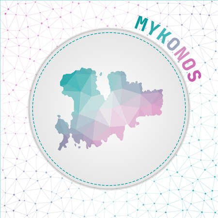 Vector polygonal Mykonos map. Map of the island with network mesh background. Mykonos illustration in technology, internet, network, telecommunication concept style . Appealing vector illustration. Vettoriali