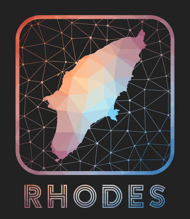 Rhodes map design. Vector low poly map of the island. Rhodes icon in geometric style. The island shape with polygnal gradient and mesh on dark background. Vettoriali