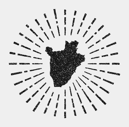 Vintage map of Burundi. Grunge sunburst around the country. Black Burundi shape with sun rays on white background. Vector illustration. Illustration