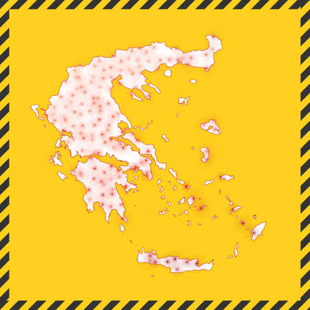 Greece closed - virus danger sign. Lock down country icon. Black striped border around map with virus spread concept. Vector illustration. Vettoriali