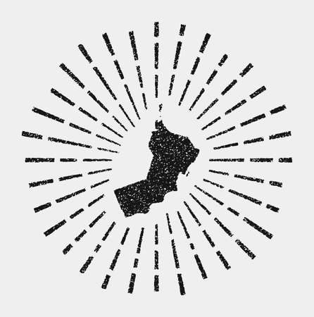 Vintage map of Oman. Grunge sunburst around the country. Black Oman shape with sun rays on white background. Vector illustration. Illustration