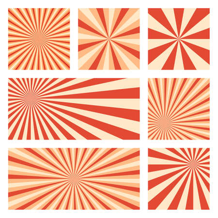 Artistic sunburst background collection. Abstract covers with radial rays. Astonishing vector illustration.