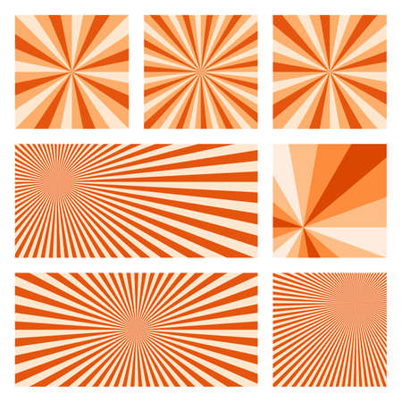 Artistic sunburst background collection. Abstract covers with radial rays. Appealing vector illustration. Vector Illustratie