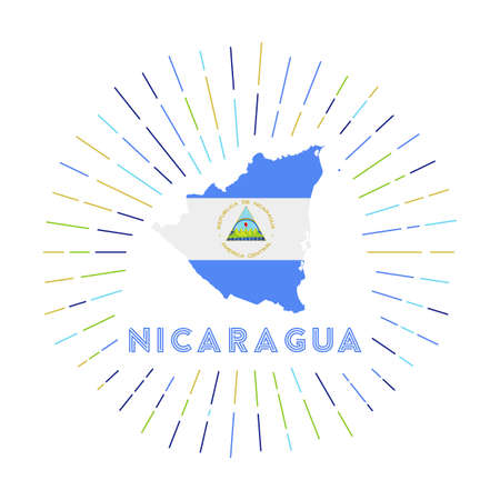 Nicaragua sunburst badge. The country sign with map of Nicaragua with Nicaraguan flag. Colorful rays around the logo. Vector illustration.