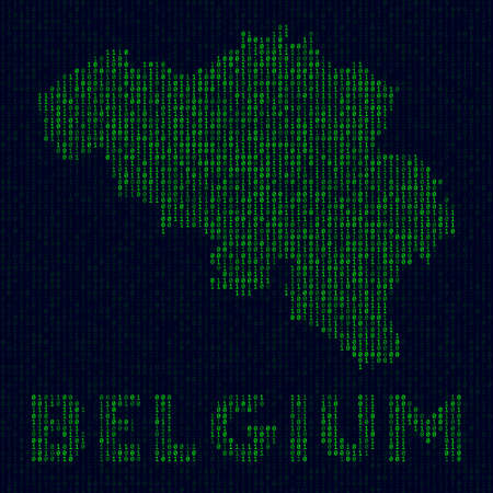 Digital Belgium logo. Country symbol in hacker style. Binary code map of Belgium with country name. Stylish vector illustration.