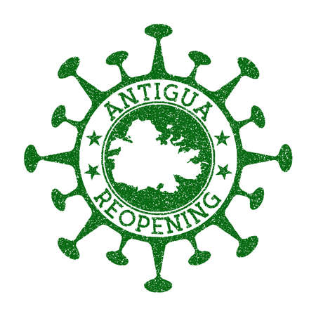 Antigua Reopening Stamp. Green round badge of island with map of Antigua. Island opening after lockdown. Vector illustration.