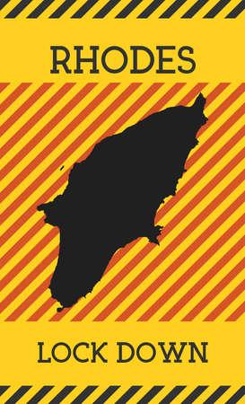 Rhodes Lock Down Sign. Yellow island pandemic danger icon. Vector illustration.