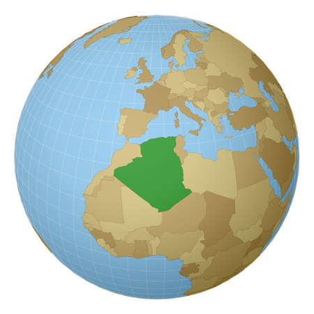 Globe centered to Algeria. Country highlighted with green color on world map. Satellite projection view. Vector illustration.