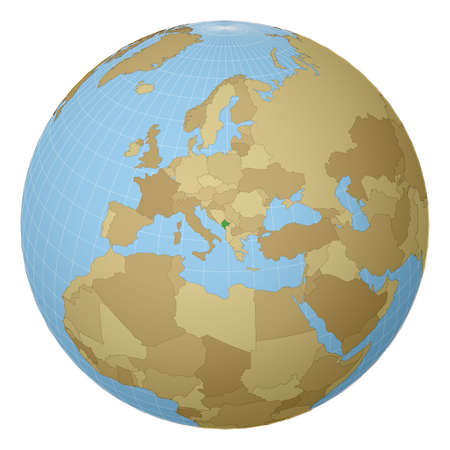 Globe centered to Montenegro. Country highlighted with green color on world map. Satellite projection view. Vector illustration.