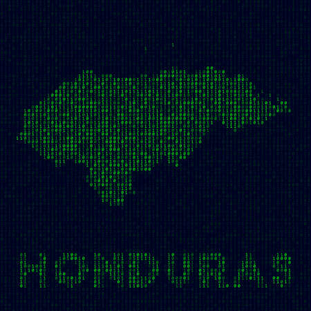 Digital Honduras logo. Country symbol in hacker style. Binary code map of Honduras with country name. Beautiful vector illustration. Vectores