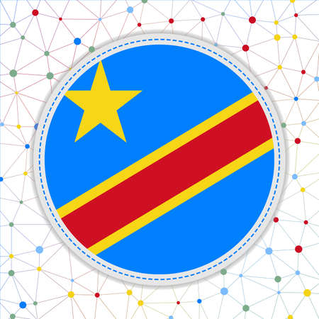 Flag of DR Congo with network background. DR Congo sign. Amazing vector illustration. Çizim