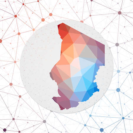 Abstract vector map of Chad. Technology in the country geometric style poster. Polygonal Chad map on 3d triangular mesh background. Çizim