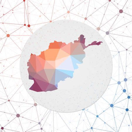 Abstract vector map of Afghanistan. Technology in the country geometric style poster. Polygonal Afghanistan map on 3d triangular mesh background.