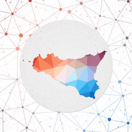 Abstract vector map of Sicilia. Technology in the island geometric style poster. Polygonal Sicilia map on 3d triangular mesh background. Illusztráció