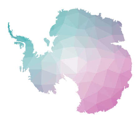 Polygonal map of Antarctica. Geometric illustration of the country in emerald amethyst colors. Antarctica map in low poly style. Technology, internet, network concept. Vector illustration.