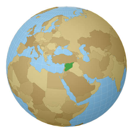 Globe centered to Syria. Country highlighted with green color on world map. Satellite projection view. Vector illustration.