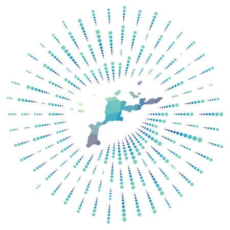 Shape of Virgin Gorda, polygonal sunburst. Map of the island with colorful star rays. Virgin Gorda illustration in digital, technology, internet, network style. Vector illustration.