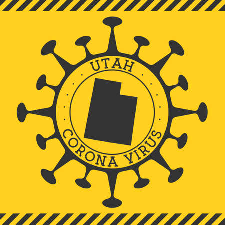 Corona virus in Utah sign. Round badge with shape of virus and Utah map. Yellow us state epidemy lock down stamp. Vector illustration.
