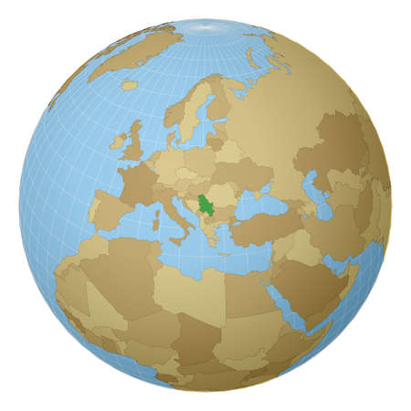 Globe centered to Serbia. Country highlighted with green color on world map. Satellite projection view. Vector illustration. Ilustração