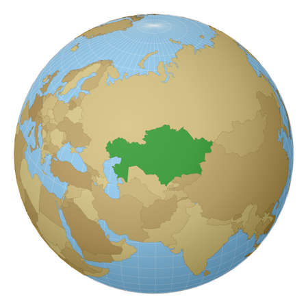 Globe centered to Kazakhstan. Country highlighted with green color on world map. Satellite projection view. Vector illustration.