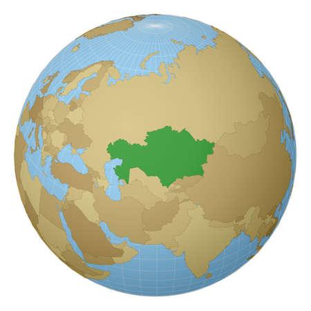 Globe centré sur le Kazakhstan. Pays surligné en vert sur la carte du monde. Vue de projection satellite. Illustration vectorielle.
