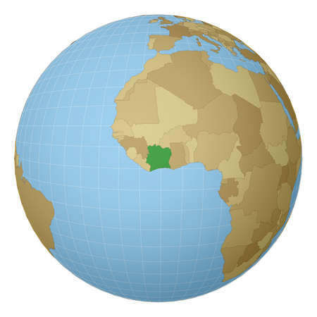 Globe centered to Ivory Coast. Country highlighted with green color on world map. Satellite projection view. Vector illustration.