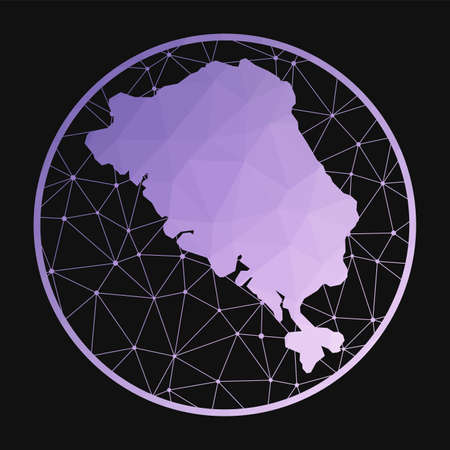 Colon Island icon. Vector polygonal map of the island. Colon Island icon in geometric style. The island map with purple low poly gradient on dark background.