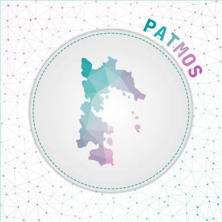 Vector polygonal Patmos map. Map of the island with network mesh background. Patmos illustration in technology, internet, network, telecommunication concept style . Neat vector illustration.