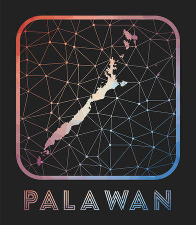 Palawan map design. Vector low poly map of the island. Palawan icon in geometric style. The island shape with polygnal gradient and mesh on dark background. Ilustração