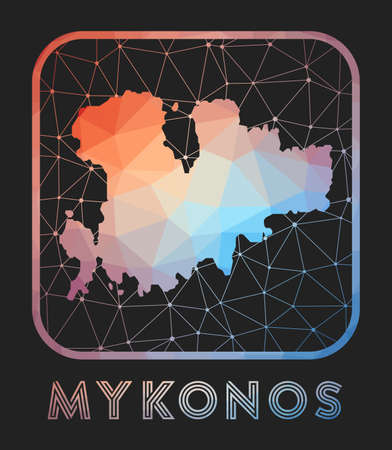 Mykonos map design. Vector low poly map of the island. Mykonos icon in geometric style. The island shape with polygnal gradient and mesh on dark background.