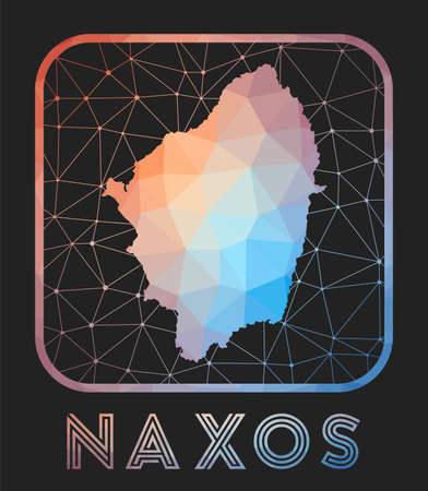 Naxos map design. Vector low poly map of the island. Naxos icon in geometric style. The island shape with polygnal gradient and mesh on dark background.