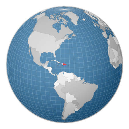 Globe centered to Dominicana. Country highlighted with green color on world map. Satellite world projection. Superb vector illustration. Ilustração